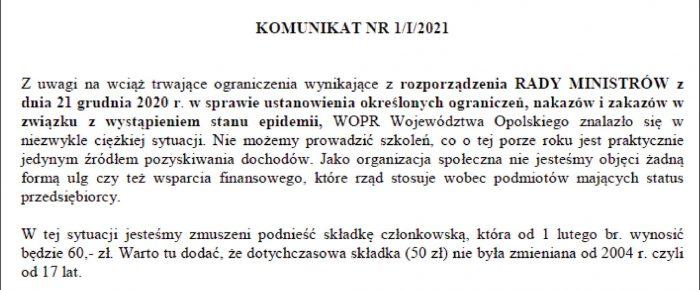 Składki członkowskie 2021r.
